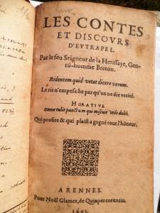 Les contes et discours d'eutrapel - Edition 1603