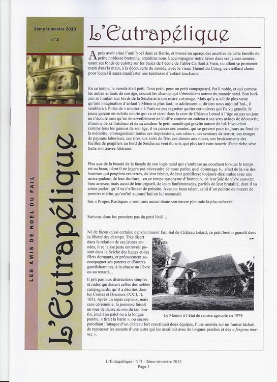 L'EUTRAPELIQUE Bulletin trimestriel